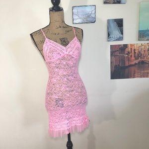Victoria's Secret pink lace chemise, Sz. S